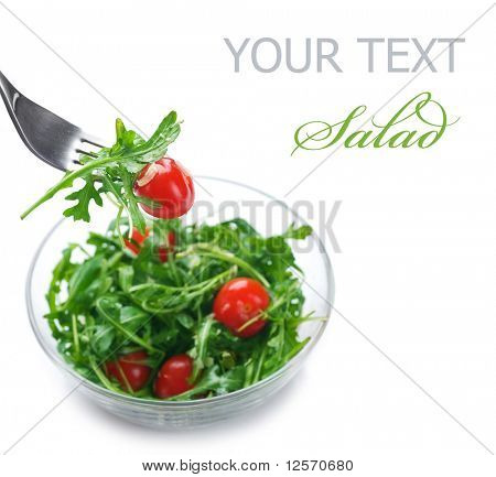 Healthy Vegetable Salad over white