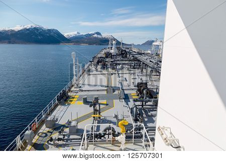 Tanker at anchor in the calm fiord in Norway