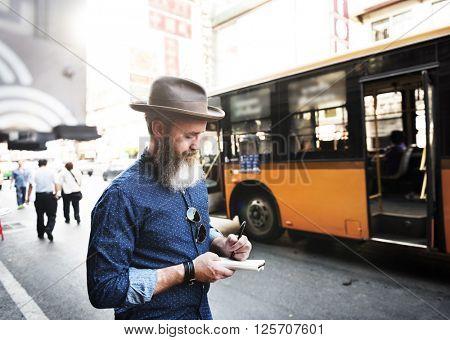 Bus Tourist Travel Wanderlust Adventure Diary Concept