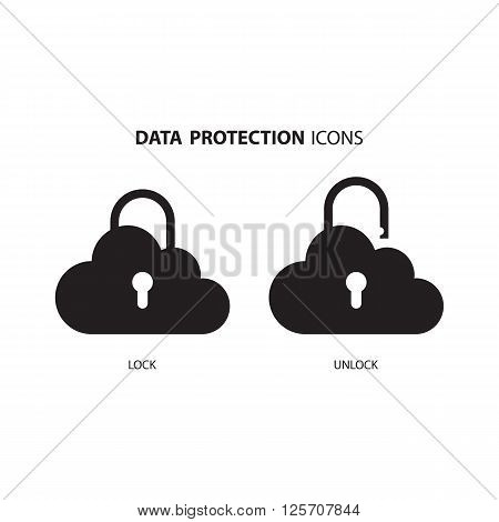 Data protection icons. Cloud computing and protecting data concept. Secure cloud technology. Vector Illustration.