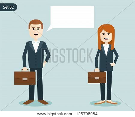 Happy business woman and a man. businessman with a portfolio in a business suit. businessmen say