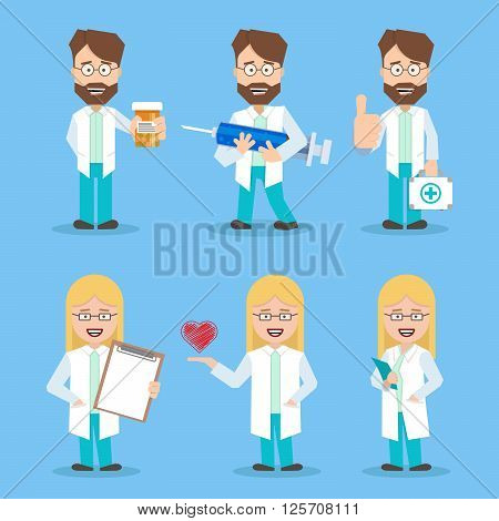 Doctors set women and men in a flat design with working tools. doctor of medicine. doctor with a syringe. doctor with a medical kit. Doctor with documents