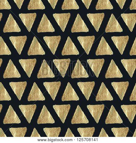 Pyramid Texture. Golden Paint. Seamless Pattern.