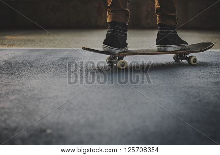 Skateboarding Practice Freestyle Extreme Sports Concept