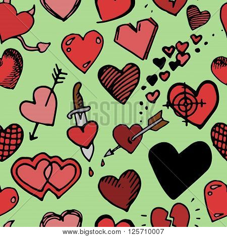 Hearts background pattern. Hand drawn vector stock illustration