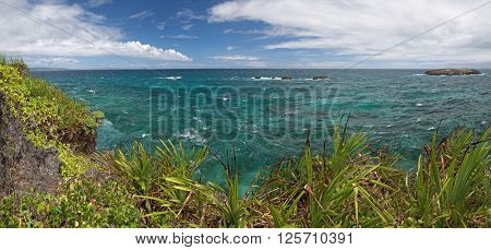 Panorama of Crystal Cove small island near Boracay island in the Philippines