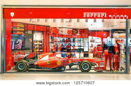 BOLOGNA ITALY - FEBRUARY 26 2016: Ferrari Store at Guglielmo Marconi International Airport; Ferrari S.p.A. is a world famous Italian luxury sports car manufacturer based in Maranello in Italy