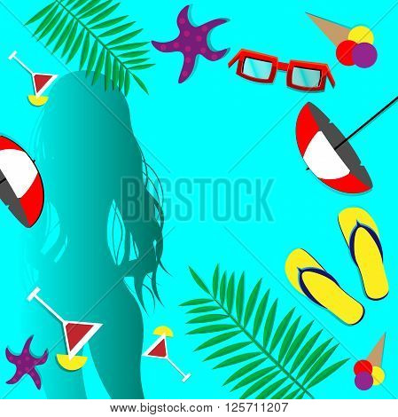 Sexy girl in swimsuit with frame summer set copy space