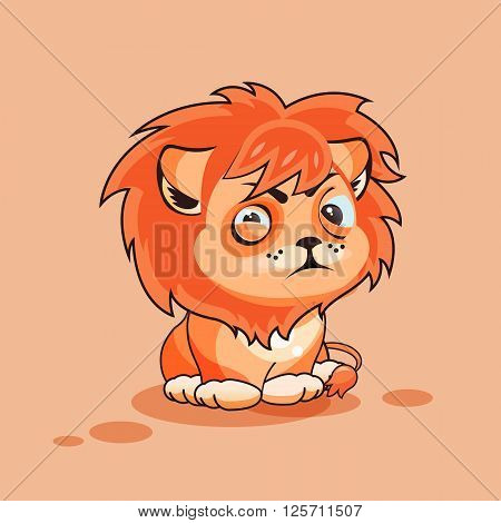 Vector Stock Illustration isolated Emoji character cartoon Lion cub squints and looks suspiciously sticker emoticon for site, infographic, video, animation, website, e-mail, newsletter, report, comic