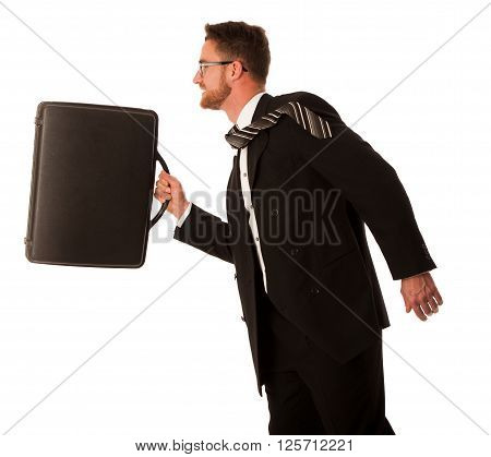 Successful Businessman In Formal Suit And Briefcase, Running Being Late.