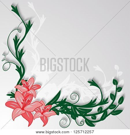 Floral decorative corner piece of lilies with leaves and twigs. Vector illustration.
