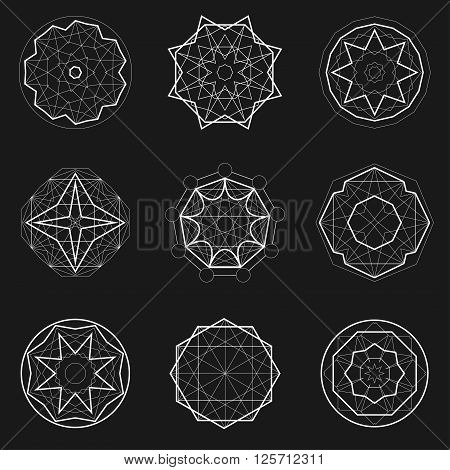 Set of Sacred geometry icons, geometric shapes, magic signs, witchcraft symbol. Geometric Mandala.