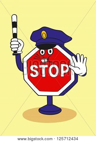 Cartoon stop sign commands you to stop.