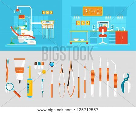 Stock vector illustration set of dental office with dental chair, office of dentist, dental equipment, medical staff in flat style element for infographic, website, icon, games, motion design, video