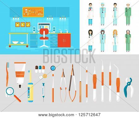 Stock vector illustration set of dental office with office of dentist, dental equipment, medical staff in flat style element for infographic, website, icon, games, motion design, video