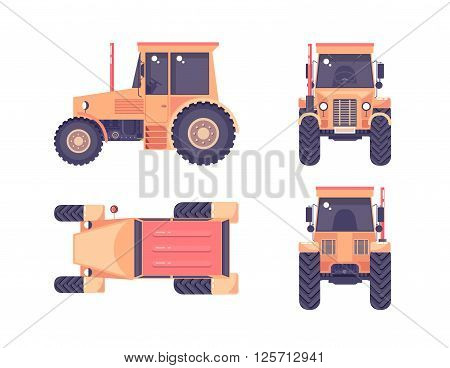 Set stock vector illustration isolated tractor top, front, side, back view flat style white background Element for site, video, animation, website, e-mail, newsletter, report, comic, icon