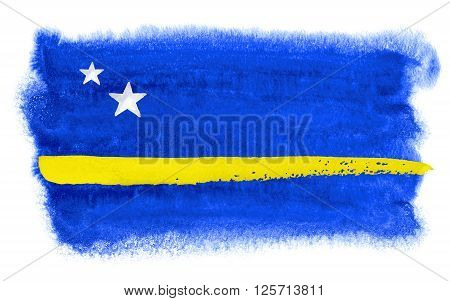 a watercolor illustration of the Curacao flag