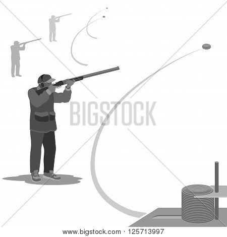man shoots at a flying clay pigeons with a rifle. sneakers on the feet, on the head cap