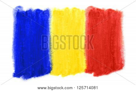 a watercolor illustration of the Romania flag