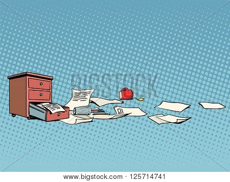 Office furniture and documents business background pop art retro style. Office after the party. The office on Friday. Vector business office retro