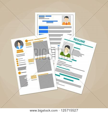 Human resources management concept, searching professional staff, analyzing resume papers, work. vector illustration in flat design on brown background