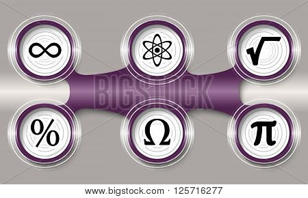 Dark purple circular object and six math icons
