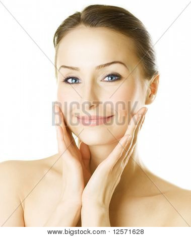 Beautiful Young Woman Portrait over white background