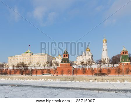 Moscow - January 7 2016: Beautiful brick Kremlin Embankment and the Kremlin wall and the architectural ensemble of the Kremlin January 7 2016 in the winter Moscow Russia