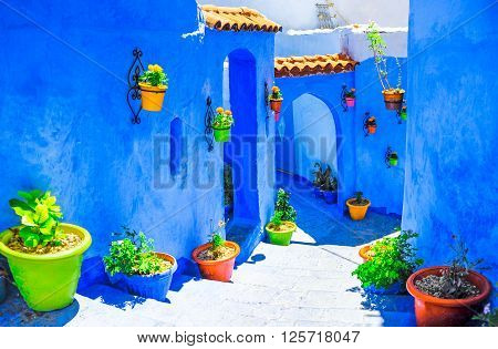 Beautiful blue medina of Chefchaouen city in Morocco, North Africa