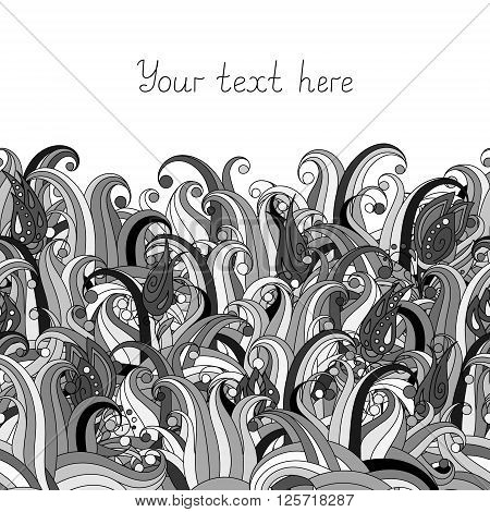 Doodle flower and grass seamless border pattern. May be used like an Invitation card design. Vector stock illustration. Black and white