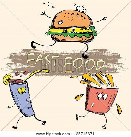 vector hand drawn sketch illustration - fast food: french fries, soda, burger
