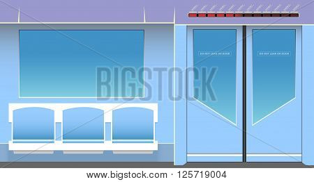Subway interior. Vector illustration. EPS 10 opacity