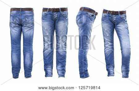 the Jeans blue jeans on white background