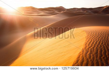 Beautiful sand dunes in the Sahara. Morocco Africa ** Note: Visible grain at 100%, best at smaller sizes
