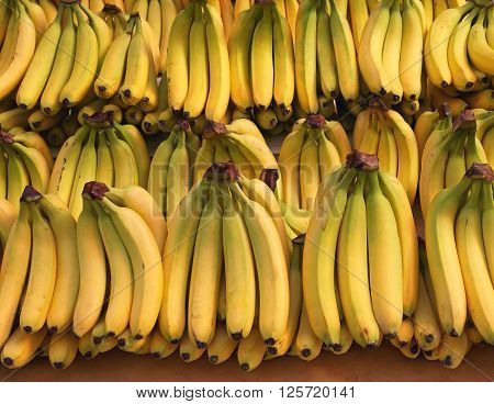 Ripened Bananas at Grocery Store Fruit Shelf