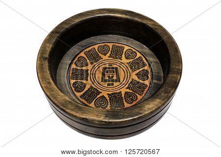 Wooden brown ashtray isolated on white background