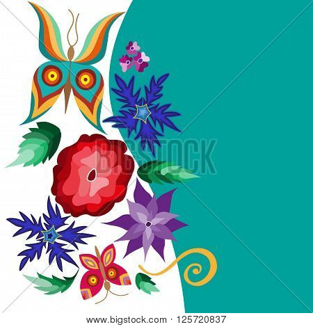 Collection of floral elements with flying butterflies and flowers illustration.