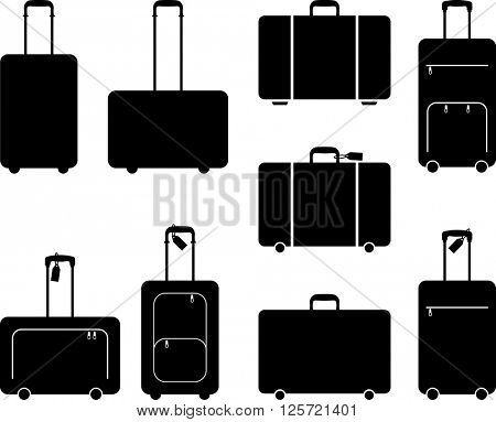 Suitcase Icon, Silhouette Vector Illustration