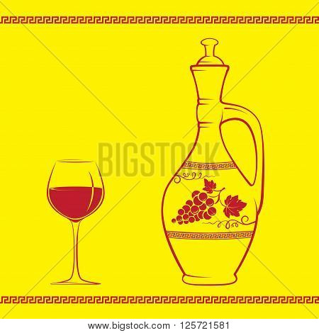 Wine jug decorated with grape and leaves, glass of red wine, Greek traditional pattern, pattern brush is included. Easy to replace colors.