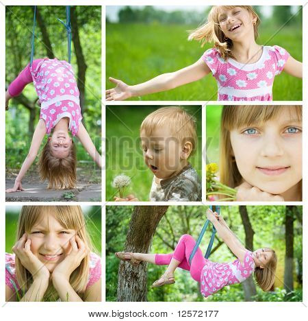Happy Kids having fun outdoor Collage