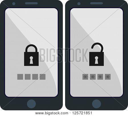 Smartphone Locked Unlocked Vector Illustration