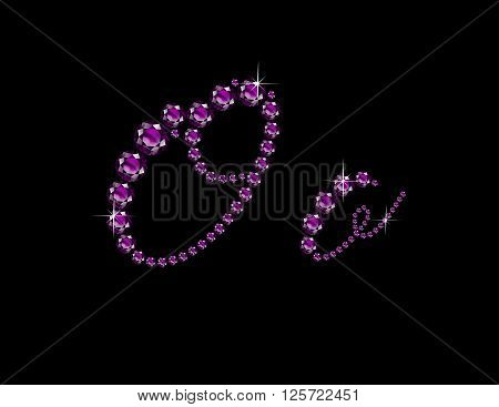 Oo in stunning Amethyst Script precious round jewels isolated on black.