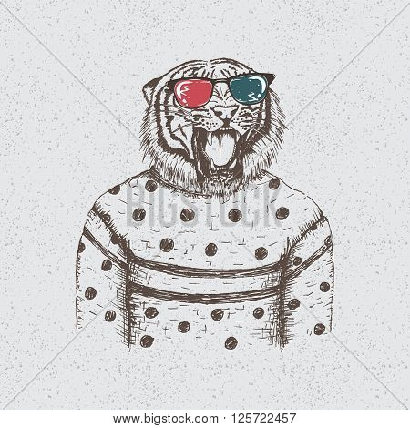 Hipster dtiger dressed in the blouse.Handmade work.Typography design for t-shirts