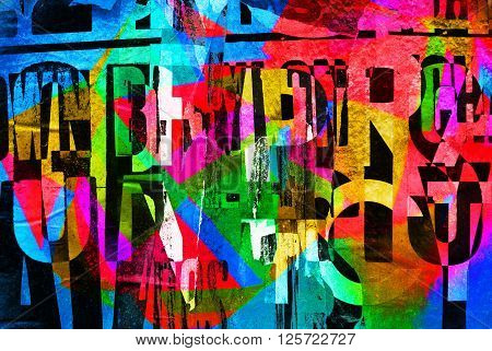 Background Random Digital Collage Or Typography Design Wallpaper Texture