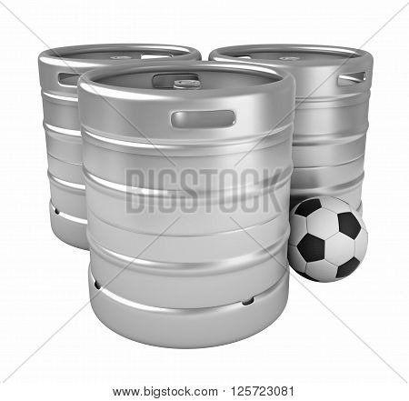 3d rendering of beer kegs and soccer ball isolated over white background