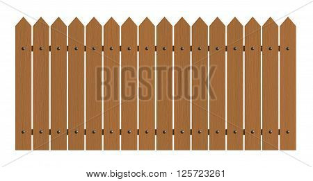 3d rendering of wooden fence isolated over white background