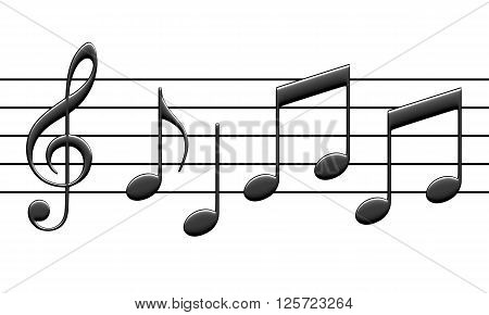 3d rendering of abstract music notes isolated on white background