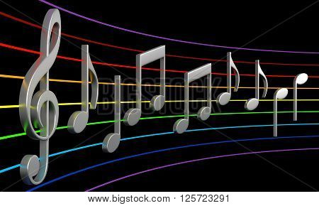 3d rendering of abstract music notes isolated on black background