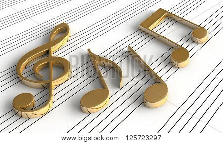 3d rendering of music notes on staff background