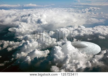 3d rendering of flying saucer ufo in the clouds